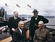King (back right) with (clockwise from King) Franklin D. Roosevelt, Governor General Alexander Cambridge and Winston Churchill on the terrace of the citadel in Quebec, Canada during the Ottawa conference