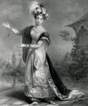 Black and white engraving of a woman in elaborate costume