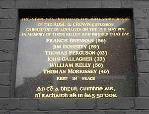 Rose & Crown Bar bombing - Image: Rose and Crown memorial