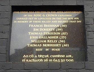 Rose & Crown Bar bombing - Image: Rose and Crown memorial