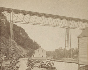 Rosendale Trestle - The railroad bridge as it was originally built, prior to its 1895 reconstruction