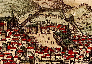 Rossio Square - Drawing of the area around the Rossio from a 16th-century map. The square, in the middle of the image, is limited by the Estaús Palace (upper left corner of the square) and the large All-Saints Hospital (right side).