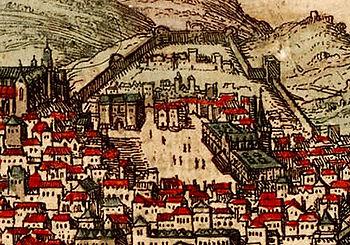 Dibujo de la Plaza Rossio de un mapa del siglo XVI. El Palacio dos Estaús está en esquina superior izquierda de la plaza, en el centro de la imagen.
