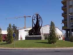 Roundabout at town entrance