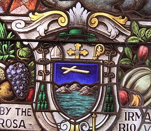 Roman Catholic Diocese of Honolulu - Bishop Etienne Jerome Rouchouze was the Vicar Apostolic of Oriental Oceania that included the Hawaiian Islands. His coat of arms adorns a stained glass window in the cathedral.