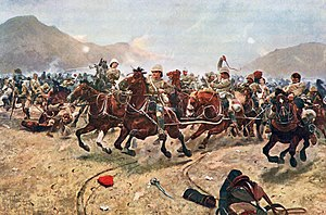 "Richard Caton Woodville Jr. - ""Maiwand: Saving the Guns"" (Royal Horse Artillery fleeing from Afghan attack at the Battle of Maiwand ((painted in 1883)."