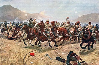 """Richard Caton Woodville Jr. - """"Maiwand: Saving the Guns"""" (Royal Horse Artillery fleeing from Afghan attack at the Battle of Maiwand ((painted in 1883)."""
