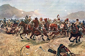 The Royal Horse Artillery withdraws from the battle