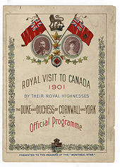 Document intitulé « Royal Visit to Canada 1901 » avec les portraits de George et de Mary