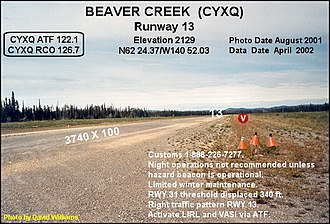 Beaver Creek Airport - Image: Runway, Beaver Creek airport, Yukon