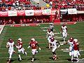 Rutgers' quarterback runs for a long gain (Nebraska vs. Rutgers, 2014).jpg