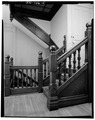 SECOND FLOOR STAIR CASE LOOKING EAST - Thomas Harrison House, 514 West Main Street, Richmond, Wayne County, IN HABS IND,89-RICH,9-15.tif