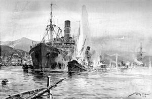 Mediterranean U-boat Campaign (World War I) - SM UB 48 unter Kapitänleutnant Wolfgang Steinbauer (1888-1978) dringt am 29 April 1918 in den italienischen Hafen Carloforte ein und zerstört den britischen Dampfer KINGSTONIAN, zwei britische Bergungsdampfer und eine französische Bark