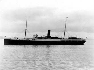 SS Parthia (1870) - SS Victoria, following her 1924 refit. Her superstructure has been increased, her bridge has been fully covered and her boilers have been converted to oil fire.