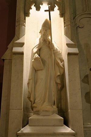 Edmund of Abingdon - Statue of St. Edmund on the altar in St. John the Evangelist Church (Logan, Ohio))
