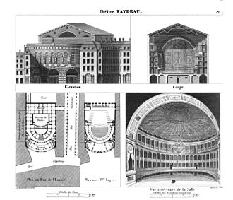Théâtre Feydeau - Architectural drawings of the Salle Feydeau