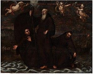 San Francisco de Paula y dos compañeros atraviesan el estrecho de Mesina sobre su manto