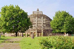 Stupa - The Great Stupa at Sanchi, which contained the relics of Buddha, the oldest known stupa.
