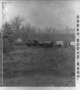 George K. Sanderson - Capt. Sanderson's Camp at the ford, while gathering the bones, and building the Monument, Montana.