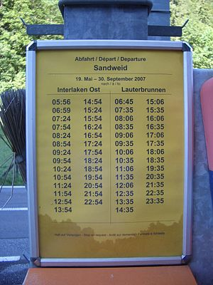 Bernese Oberland Railway - The departure board at Sandweid station