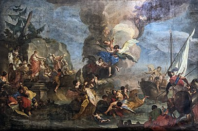 Santa Giustina (Padua) - Chapel of Saint Matthias - Saints Cosmas and Damian saved by the angel (1718) Antonio Balestra