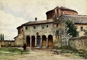 Santo Stefano al Monte Celio - Santo Stefano Rotondo in a painting by Ettore Roesler Franz in the 19th century.