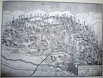 "History of Sarajevo - ""Seralia"" (Sarajevo) in 1697 at the time of the siege by Eugene de Savoy. Excerpts from his diary:October 23, 1697: ""I opened a front line on the right side of the city and sent one division to loot and plunder: the Turks have brought all their valuables to security, but we could still find enough spoils. In the evening, a fire broke out. The city is large and fully open. It has 120 beautiful mosques.""October 24, 1697: ""We have completely burned down the city and all outskirts. Our troops, which have chased the enemy, have fetched spoils, women and children too. Many Christians are coming to us and begging for protection. They are coming with all their belongings in our camp because they want to leave the land and join us. I hope that I will be able to take all of them over the Sava river."""