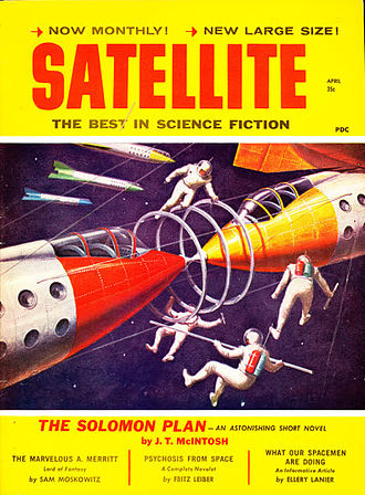 """J. T. McIntosh - McIntosh's 1956 novella """"The Solomon Plan"""", which was originally published in New Worlds, was reprinted as the cover story on the April 1959 issue of Satellite Science Fiction"""