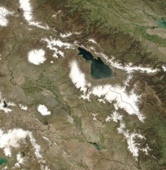 Outline of Armenia - An enlargeable satellite image of Armenia