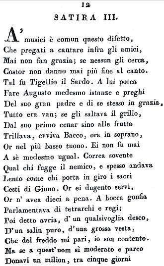 """Satire - """"Le satire e l'epistole di Q. Orazio Flacco"""", printed in 1814."""