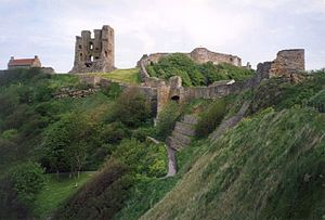 Great Siege of Scarborough Castle - The entire west wall, roof, and interior floors of Scarborough Castle's keep were destroyed in 1645 by artillery bombardment during the English Civil War.