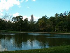 Cathedral of Learning seen from Panther Hollow Lake