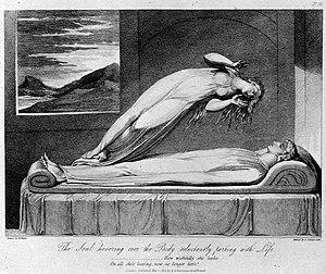 Out-of-body experience - A 19th-century illustration of Robert Blair's poem The Grave, depicting the soul leaving the body