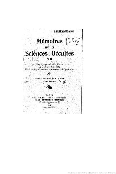 File:Schopenhauer - Mémoires sur les sciences occultes.djvu