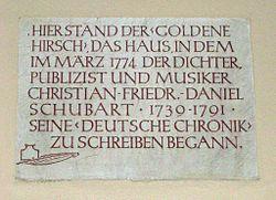 Photo of Christian Friedrich Daniel Schubart stone plaque