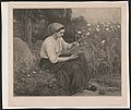 Seated woman feeding young birds in a nest LCCN2003670238.jpg