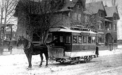 Horse-drawn streetcar in Seaton Village in 1890