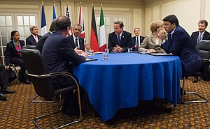 Big Four (Western Europe) - US President Barack Obama with EU4 leaders Hollande, Cameron, Merkel and Renzi during the 2014 Wales summit