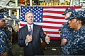 Secretary of the Navy Ray Mabus addresses Sailors aboard the guided missile cruiser USS Monterey (CG 61) during his visit to the ship May 16, 2013, in Manama, Bahrain 130516-N-QL471-384.jpg