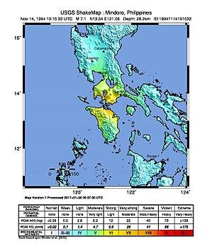 1994 Mindoro earthquake - Image: Shake Map Mindoro 1994