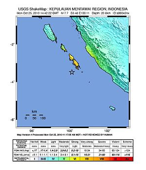 2010 Mentawai earthquake and tsunami - Image: Shakemap October 2010 Indonesia