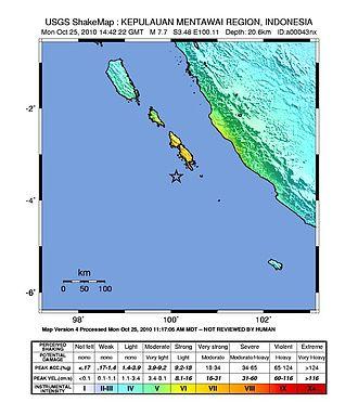 2010 Mentawai earthquake and tsunami - Image: Shakemap October 2010 Indonesia