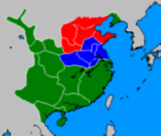 Battle of Guandu - Territories of Yuan Shao (red) and Cao Cao (blue) at the time of the battle