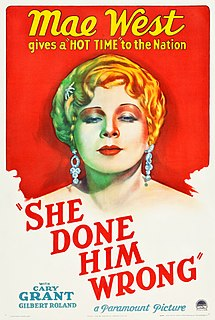 <i>She Done Him Wrong</i> 1933 film by Lowell Sherman
