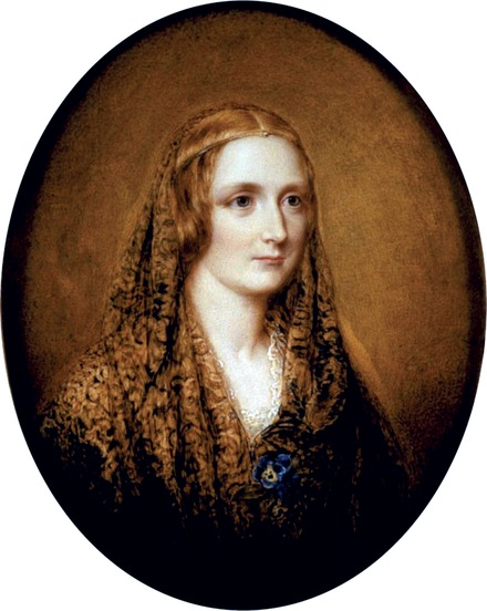 Reginald Easton's miniature of Mary Shelley is allegedly drawn from her death mask (c. 1857). Shelley Easton.tif