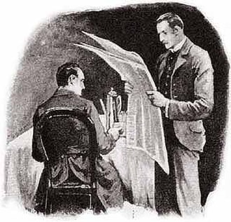 "Dr. Watson - Watson reading bad news to Holmes in ""The Five Orange Pips."" One of Sidney Paget's iconic illustrations from The Strand magazine."