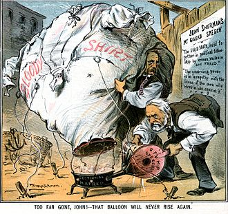 "Joseph B. Foraker - An 1885 political cartoon accuses Sherman (right) and Foraker of ""waving the bloody shirt"" of the Civil War for political gain."