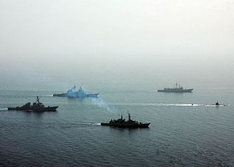 Foreign relations of Bahrain - April 17, 2008: Arabian Shark '08 in process, a joint exercise between the navies of Pakistan, Bahrain and the United States, focusing on antisubmarine warfare.