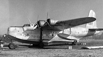 Aquila Airways - Short Sunderland 3 G-AGER Hadfield served Aquila Airways from 1948 to 1956. Hamble Beach 1955