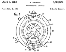 Shutter With Ev Indicator Figure From Us Patent 2829574 Inventor K Gebele Original Ignee Hans Deckel Filing Date Nov 2 1953 Issue Apr 8
